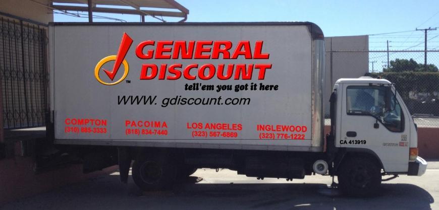 VEHICLE GRAPHICS ON GENERAL DISCOUNT TRUCKS